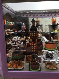 Dollhouse Miniature Halloween Black Cat Bakery Carol Vasil