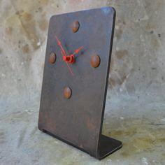 Industrial Desk or Mantle Clock Dark Patina by WhitesIndustrial