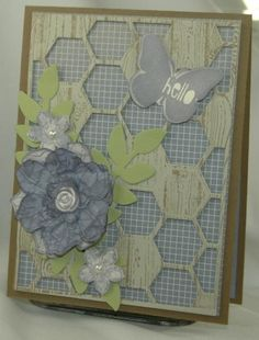 Hardwood Hexagon Hive by Carol Payne - Cards and Paper Crafts at Splitcoaststampers Butterfly Cards, Flower Cards, Paper Flowers, Hexagon Cards, Scrapbook Cards, Scrapbooking Ideas, Cards For Friends, Copics, Paper Cards