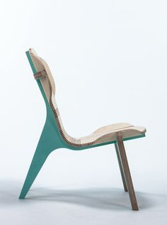 "kerFchair by Boris Goldberg Photo  Really like the method used for bending the timber, instead of moulded plywood he used ""kerfing"""