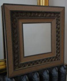 Miroir carré en carton ondulé de Pot 2 colle & Cie sur DaWanda.com