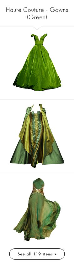 """Haute Couture - Gowns (Green)"" by giovanna1995 ❤ liked on Polyvore featuring gowns, dresses, long dresses, vestidos, doll clothes, green, long dress, green ball gown, baby doll dress and long green dress"