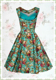 Lindy Bop 50er Jahre Rockabilly Petticoat Blumen Kleid - Ophelia - Türkis