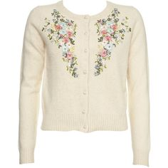 Topshop - Knitted Embroidery Cardigan found on Polyvore featuring polyvore, women's fashion, clothing, tops, cardigans, sweaters, outerwear, shirts, topshop shirts and embroidery top