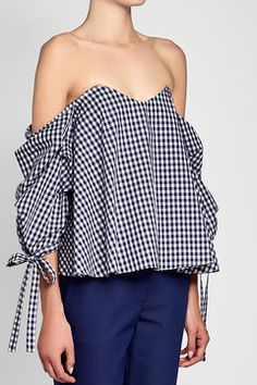 Printed Off-Shoulder Cotton Blouse | Caroline Constas