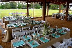 Haras Hacienda Terrace Set Up Beutiful Country Chic Aqua Outdoor party Ideas