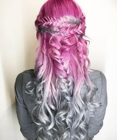 pink, purple to gray hair color