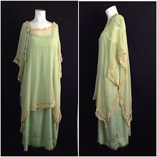 Antique 1920s Green Silk Lace Long Sheer Sleeveless Flapper Dress Art Deco M