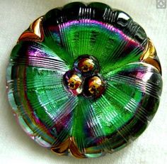Czech Pansy Glass Button