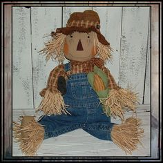 Baby size primitive country style scarecrow HAFAIR by lazydayzlucy, $65.00 #fall decoration #halloween decor