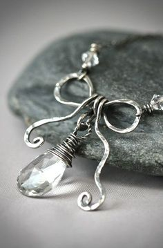 Birth Stone Bow - Hand Sculpted Bow Sterling Silver Necklace