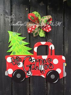 Christmas pick'em up Truck door hanger by SouthernDesignsByTM