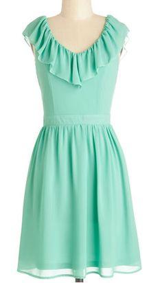 Pretty Mint Dress with Ruffle Neckline