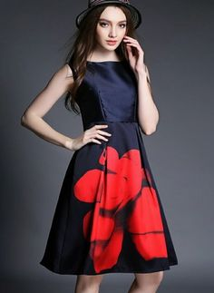 Floral Zipper Skater Knee-Length A-line Dress