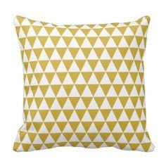 Dreieck geometrisches Muster-Senf-Gelb Kissen #Dekokissen #Kissen #Zierkissen #DekokissenART