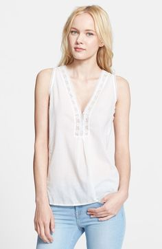 Joie 'Avielle' Lace Trim Cotton Top available at #Nordstrom