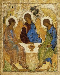 Old Testament Trinity - Artist  Andrei Rublev - Material  wood Technics  tempera