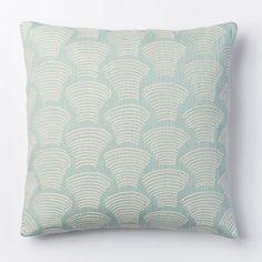 "Crewel Deco Shells Pillow Cover, 18""x18"", Pale Harbor"