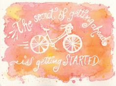 """canvaspaintings: Print ~ Watercolor Art Quote Painting """"The secret of getting ahead is getting started"""" by CloudNineChic (10.00 USD) http://ift.tt/1ufHC4e"""