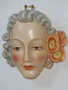 Original 1930's Goebels Art Deco Czechoslovakian Wall Mask~Rare Design~#6~Mint #WallPlaques