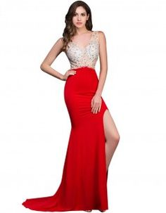 Grace Karin Long Mermaid Prom Dresses Beaded Sequin Backless Sleeveless  High Slit V Neck Red Formal Gowns Sexy Party Dress Prom d540f25ce5a8