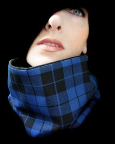 Fall Cowl in Blue and Black Plaid by piprobins on Etsy