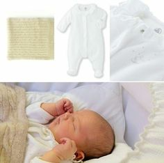 Prince Alexander's white babysuit comes from the French brand Petit Bateau and retails for  35 Euros. His beige cable-knit blanket comes from the Swedish brand Soft Goat that specializes in cashmere and retails for $165US