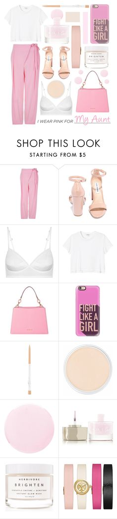 """I Wear Pink For My Aunt"" by randomfashioncollections ❤ liked on Polyvore featuring TIBI, Steve Madden, Monki, MICHAEL Michael Kors, Casetify, Clinique, Smith & Cult, Herbivore and Tory Burch"