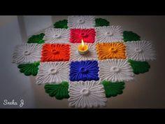 Innovative rangoli design for Durga ashtami | Beautiful Rangoli design by shalini - YouTube Easy Rangoli Designs Videos, Easy Rangoli Patterns, Rangoli Designs Latest, Rangoli Border Designs, Small Rangoli Design, Rangoli Borders, Rangoli Colours, Rangoli Designs Diwali, Beautiful Rangoli Designs