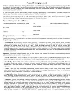 Personal Trainer Agreement Forms   Safe Diet For Weight Loss   Personal  Training Agreement