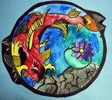 Students learned about Koi Fish symbolism while creating dynamic koi fish compositions. Students unified their compositions through theme and technique as well as adding variety by varying the width of the outline, adding color within the circle and values of gray only outside the circle.