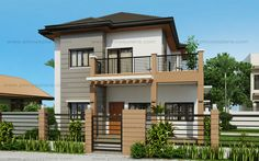 Marcelino Model is a a four bedroom two storey house that can be built in a x meter lot. With Patio at the front, the Balcony at the second floor serves as a shade. The living room is 25 sq. which opens to the dining and kitchen. Two Story House Design, 2 Storey House Design, Small House Design, Modern House Design, Four Bedroom House Plans, Small House Floor Plans, Modern House Plans, Modern Houses, Philippines House Design