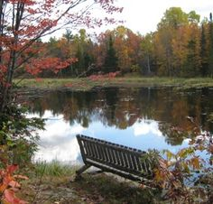 Hiking in Ontario along the Trans Canada Trail near Coopers Falls in Muskoka. Autumn is the best time for hiking.