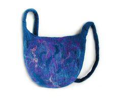 Felted bag felt bag felt handbag wool bag blue violet purple boho winter art bag OOAK