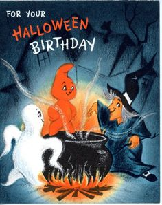 Vintage Hallmark Birthday & Halloween Greeting Card Ghost Witch Caldron 2339 FOR SALE • $8.50 • See Photos! Money Back Guarantee. 4 1/4 x 5 1/4 Great for the Collectors - Scrapbooking - art projects - mixed media art I ship in Cardboard envelopes with tracking. NO INTERNATIONAL SHIPPING PAYPAL PLEASE 272653762259