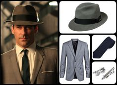 Don Draper jacket, tie, hat, cuff links and tie bar