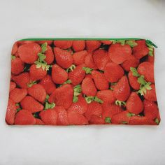 Strawberries Fabric Zipper Pouch / Pencil Case / Make Up Bag / Gadget Sack. $12.00, via Etsy.