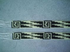 Black an Bone Geometric Hatband Native American Design beaded hat band