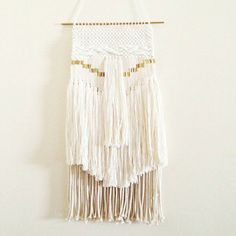 woven wall hanging / white moon weaving tapestry / hand woven wall hanging art