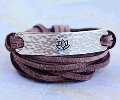om namah shivaya secret message bracelet with lotus flower, leather wrap bracelet, lotus bracelet, yoga jewelry, om, custom bracelet lotus