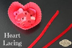 Heart Lacing - A Heart Themed Fine Motor Skills Activity  #valentinesdayactivities #kidsactivities #finemotorskills #hearts #toddlers #preschoolers #lacing #pipecleaners