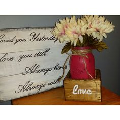 Rustic Farmhouse Centerpiece Rustic Centerpiece Rustic Planter Wedding... (€20) ❤ liked on Polyvore featuring home, home decor, small item storage, home & living, home décor, pink, vases, flower home decor, pink home decor and flower stem