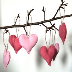 Six Pink Felt Heart Decorations. $20.00, via Etsy.