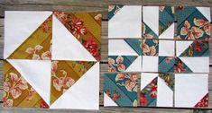 Variations of Disappearing Pinwheel  block