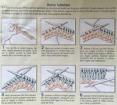 Saper fare l'avvio tubolare a maglia è una delle cose fondamentali: permette di avere un bordo elastico all'inizio del lavoro, perfetto per i polsini dei maglioni, l'elastico in vita e il bordo dei ca