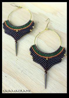 Macrame Hoop earrings Unique tribal jewelry por GaiaMacrame en Etsy