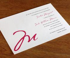 Modern #monogram wedding invitation.