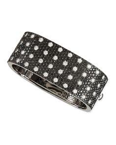 Pois Moi 18k White Gold & Black/White Diamond 4-Row Bangle - Roberto Coin
