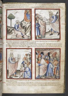 Add_ms_15277_f015r Moses (with horns) returns from Mount Sinai for the second time, from the 'Paduan Bible Picture Book', Northern Italy (Padua?), c. 1400, Add MS 15277, f. 15r - See more at: http://britishlibrary.typepad.co.uk/digitisedmanuscripts/2015/06/exodus-men-adventures-in-a-medieval-bible-picture-book.html#sthash.N6PsJ0Nf.dpuf