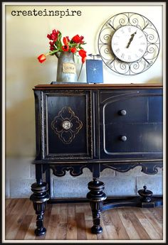 This gorgeous antique buffet belonged to the same set of the Depression Era hutch I just refinished. Two beautiful pieces of furniture. Black Paint, Furniture Projects, Painted Furniture, Black Painted Furniture, Furniture, Color Collection, Paint Refinishing, Red Rooms, Black Buffet